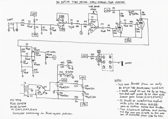 BK Butler Early Garage Made Tube Driver Schematic