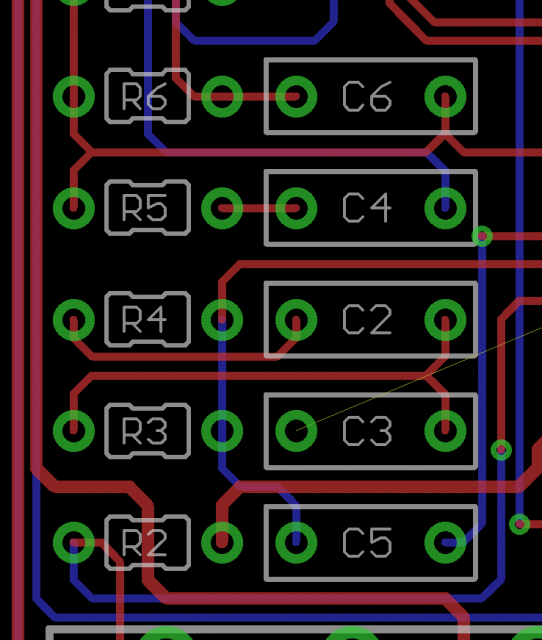 This is what I think's going on in that area of the PCB, note the airwire for C3 to ground.