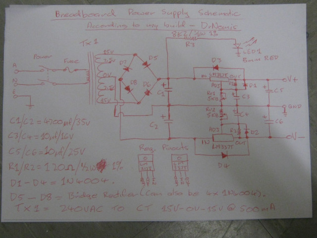 Breadboard Power Supply Schematic